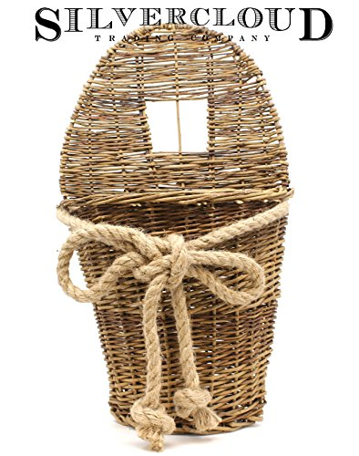 Large Brown Woven Willow Vine Basket with Rope Bow - Easy to Mount - 17.5
