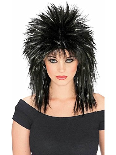 80s Diva Adult Costume - Rubie's Rockin Diva Wig with Tinsel, Black/Silver, One Size