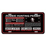 United States US Zombie Hunting License Permit Red - Biohazard Response Team Novelty Metal Vanity License Tag Plate
