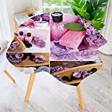 UHOO2018 Circular Table Cover Washable Polyester-Spa with Lilac Petals Fresh Therapy Oils Bath Salt Soap Relax Theme Meditation Stain Resistant Wrinkle Free Dust Table Cover 55'' Round