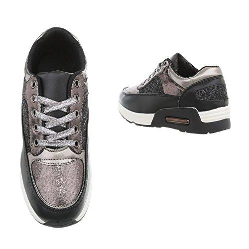 Argento Sneaker Scarpe Nero 1 Piatto Sneakers A Da design Ital Low Donna 13 ZqTSOC