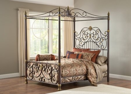 UPC 796995991057, Hillsdale Furniture 1751BKPR Stanton Bed Set with Canopy and Matching Side Rails, King, Old Brown Highlight