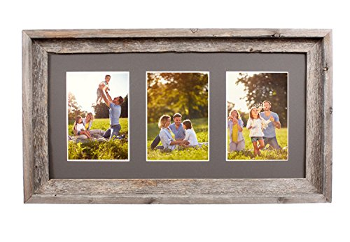 BarnwoodUSA Multi Opening Mat with 100% Up-cycled Reclaimed Wood Frame (3-5x7, - Wood 3x5 Frame