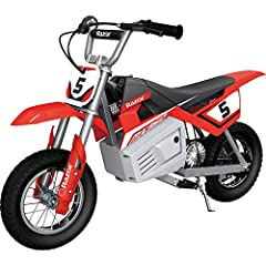 Your kid isn't afraid of a little dirt. The Razor MX350 Dirt Rocket is ideal for kids and teens ages 13 years and older who want to enjoy a revved-up version of the off-road dirt bike experience. This dirt bike is a high performance, electric...