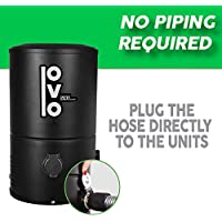 OVO Compact 595 Airwatts Central Vacuum System Power Unit, No-Piping Required Vac, Black