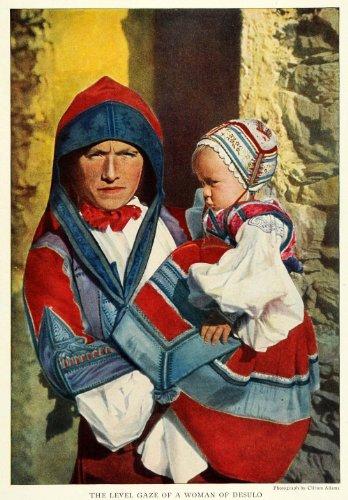 [1923 Print Desulo Comune Sardinia Island Mother & Child Italy Costume Clothing - Original Color Print] (Costume Di Desulo)