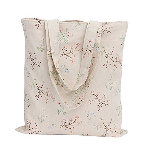 (Caixia Women's Charming Floral Branch Canvas Tote Shopping Bag Beige (Zip)