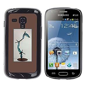 Shell-Star Arte & diseño plástico duro Fundas Cover Cubre Hard Case Cover para Samsung Galaxy S Duos / S7562 ( Statue Modern Art Abstract Boy Flying )