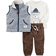 Carter's Baby Boys' 3 Piece Sherpa Vest Long Sleeve Top and Pants Set 6 Months