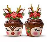 Christmas Cupcake Toppers and Wrappers- Set of 24 Reversible Reindeer Wrappers and Toppers with Real Foil Sparkle- Perfect for Christmas Parties- By The Funky Fledgling