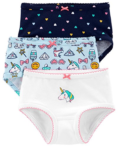 (Carter's Little Girl's 3-Pack Stretch Cotton Panties (6-6X, Unicorn(33309414)/Rainbow Hearts))