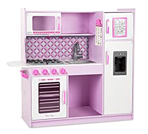 "Melissa & Doug Wooden Chef's Pretend Play Toy Kitchen With ""Ice"" Cube Dispenser – Cupcake Pink/White"