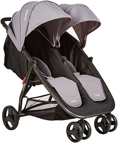 Combi Lightweight Double Unique Travel System Full Size Twin Umbrella Stroller Compatible with the Shuttle Infant Seat – Compact Fold N Go - Titanium (Frame Titanium Lightest)