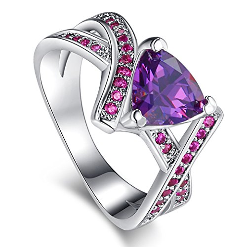 - Narica Womens Brilliant 8mmx8mm Trillion Cut Amethyst CZ Engagement Ring