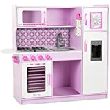 """Melissa & Doug Wooden Chef's Pretend Play Toy Kitchen With """"Ice"""" Cube Dispenser – Cupcake Pink/White"""