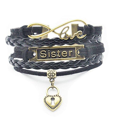 HHHbeauty Big Little Sister Bracelet - Retro Bronze Heart Sister Charm Bracelet Gifts for Sister, Big Sister, Little Sister, Women ()