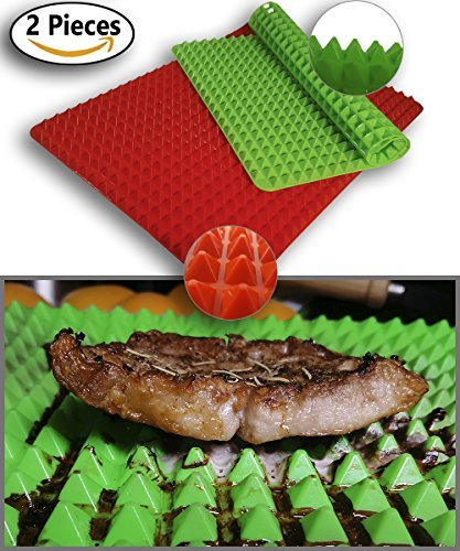 Pyramid Pan Silicone Baking Mat | 2 pcs Green and Red | Food Grade Reusable | Non-stick Heat Resistant | Healthy Cooking Fat Reducing | Oven Microwave Dishwasher Safe | Professional Premium Quality