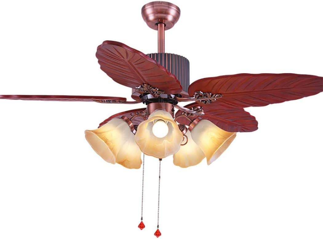 Amazon Com Wooden Ceiling Fan Light 5 Blades 5 Lights Fan Light Lamp Tropical Large Quiet Ceiling Fan Chandelier For Bedroom Living Room 48 Inch Home Kitchen