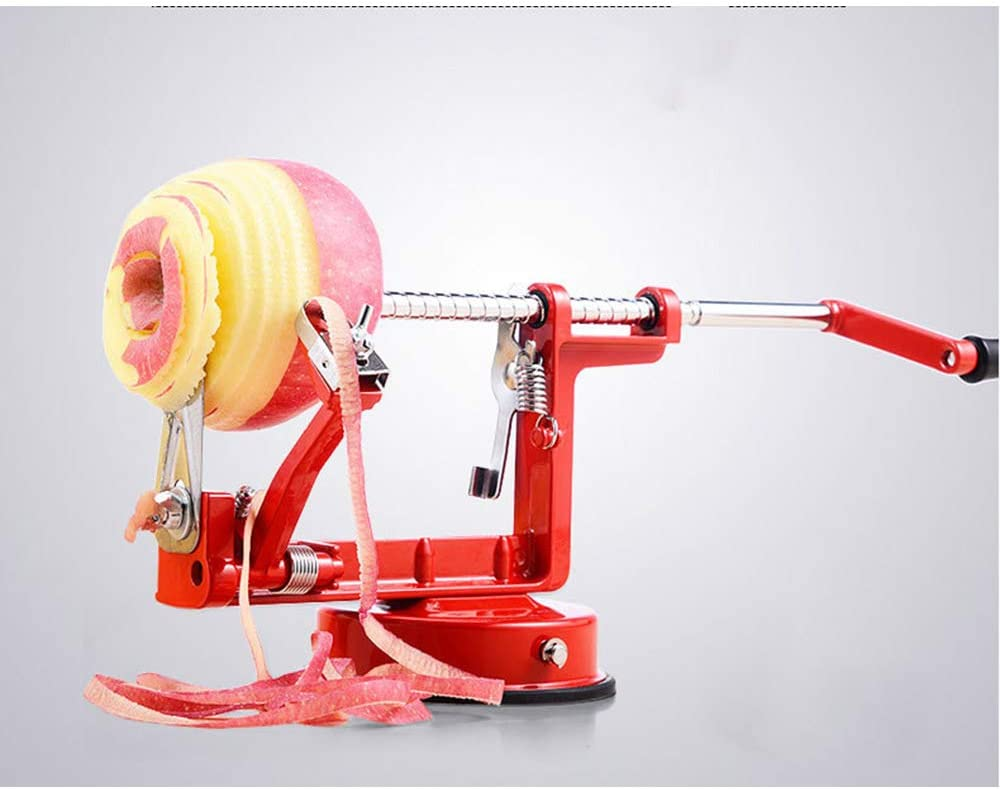 Cast Magnesium Apple/Potato Peeler Corer by Spiralizer, Durable Heavy Duty Die Cast Magnesium Alloy Peelers,Stainless Steel Blades, Red