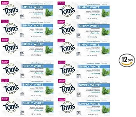Tom's of Maine Toothpaste Clean Mint Simply White, Trial Size, 0.9 Ounce (12 count) by Tom's of Maine