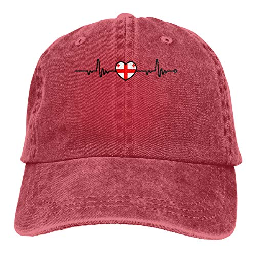 Baseball Cap for Men and Women, Georgia Flag Heartbeat Line Heart Men's Cotton Adjustable Jeans Cap Hat Red ()
