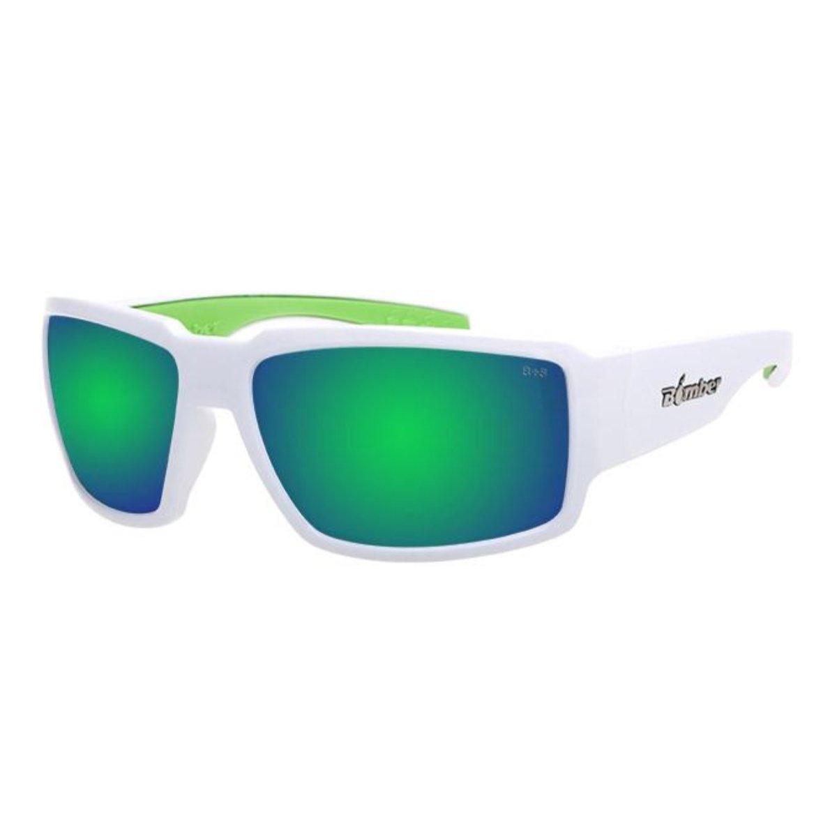 Bomber Sunglasses - Boogie Bomb Glossy White Frm/Green Mirror Pc Lens/Green Foam
