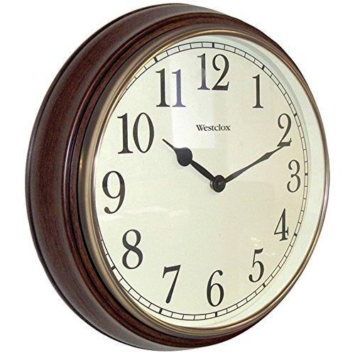 WESTCLOX 73004P 15.5'''' Round Dark Woodgrain Clock Home Kitchen Furniture Decor by Westclox (Image #1)