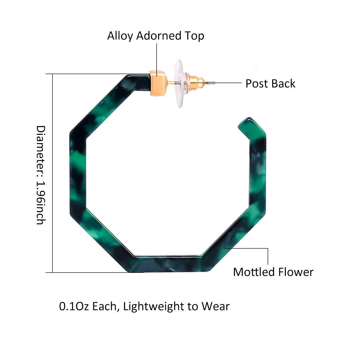 PHALIN Acrylic Hoop Earrings Tortoiseshell Acrylic Earrings Geometric Resin Earring Studs for Women Girls