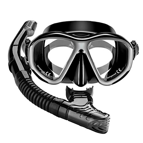 Diving Gear Aqualung - Mpow Snorkel Mask, Scuba Diving Mask for Snorkeling Diving Swimming, Easy Breath Scuba Snorkeling Gear with Silicon Mouth Piece and Easy Adjustable Strap (Black)