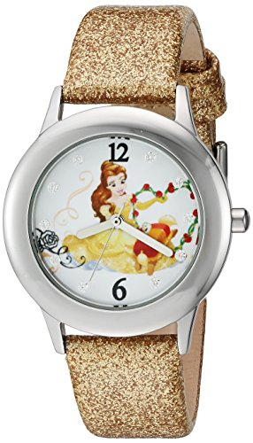 Disney Girl's 'Beauty and Beast' Quartz Stainless Steel and Leather Watch, Color:Gold-Toned (Model: W002923)