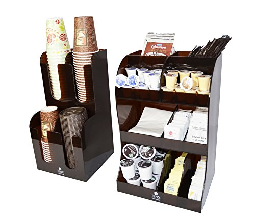 - Jenx 2 Piece Combo Acrylic Coffee Condiment and Accessories Organizer for Hotel Cafeteria Restaurant Coffee Tea Shop Office Break-room