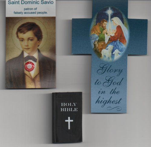 Saint Dominic Salvio Relic Magnet with Cross Bookmark and Bible Eraser Patron of Falsely Accused People