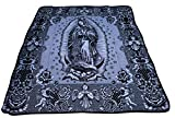 Del Mex Mexican Virgin Guadalupe Mary Blanket Bedspread Black White Reversible