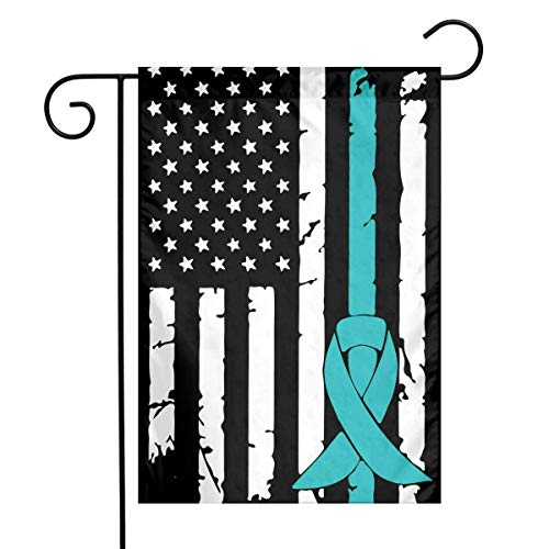 Dongingp PCOS Cancer Awareness USA Flag Garden Flag Welcome House Flag for Celebration,Festival,Home,Outdoor,Garden Decorations 12 X 18 Inch