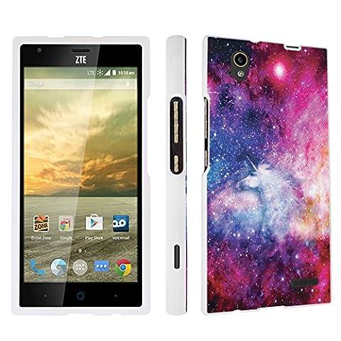 DuroCase ZTE Warp Elite N9518 Boost Mobile (Released in 2015) Hard Case White - (Unicorn Galaxy) (Zte Warp Sync Rubber Phone Case)