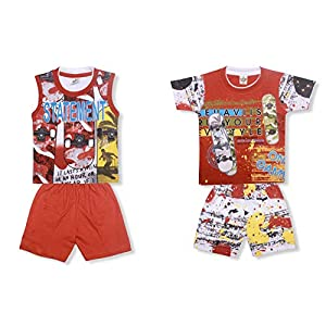 Little Hub Cotton Clothes for Baby Boy's & Baby Girls 2 Short Sleeve Round Neck T-Shirt and 2 Shorts