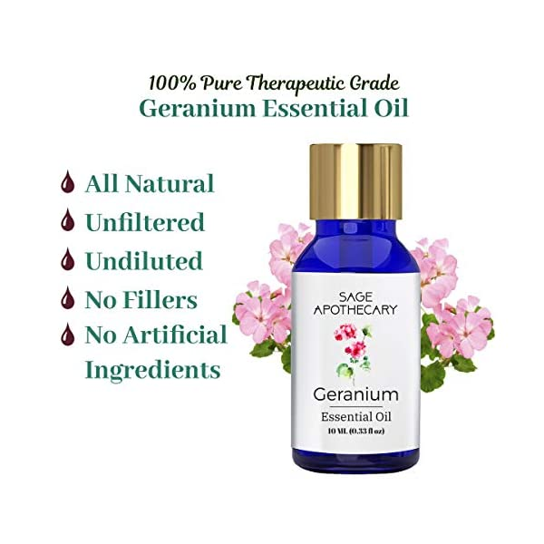 Sage Apothecary 100% Pure & Natural Geranium Essential Oil, 10 ML - Face, Skin & Body Care Perfumes