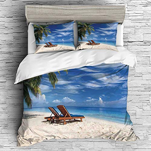 4 Pcs 3D Printed Young Bedding Collections Lightweight, Hypoallergenic(Singe Size) Seaside,Two Beach Chairs on The Tropical Sandy Beach Under Palm Trees Relaxing,Blue Green and Ivory