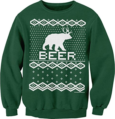 Bear + Deer = BEER - Ugly Christmas Sweater Party - SWEAT SHIRT - Forest Green