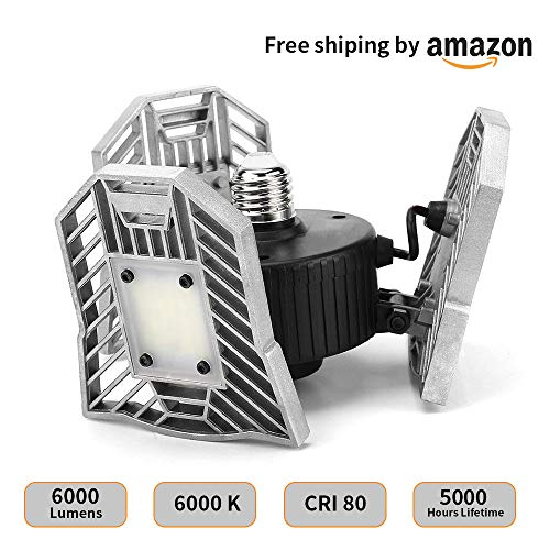 Garage Light With Motion Sensor, 6000LM Led Garage Ceiling Lights,E26 Deformable Garage Lamp, CRI 80 Motion Activated Led Shop Lights for Garage (Highly (Ceiling Lamps Shop)