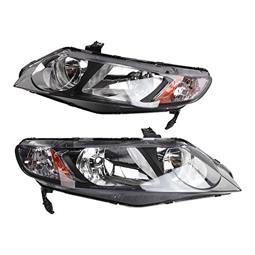 2PC Driver & Passenger Headlights Headlamps Set Replacement for Honda Civic DX/EX/GX/Hybrid/LX/Si Sedan 2006 2007 2008 2009 2010 2011