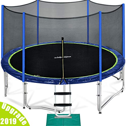 Zupapa 15 14 12 FT TUV Approved Trampoline with Enclosure net and Poles Safety Pad Ladder Jumping Mat Rain Cover, Blue (12) For Sale
