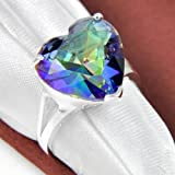 Sumanee Valentines Gift Love Heart Rainbow COlored Topaz Gems Silver Rings Size 7 8 9 (8)