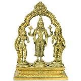 "Gangesindia Lord Vishnu With Bhudevi & Sridevi Idol Brass Swami Satyanarayan Statue 3384 (10.25""H x 7.25""W x 3.50""D) Gold"