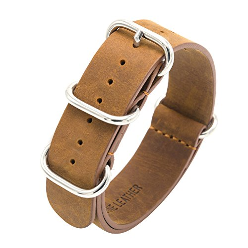 Genuine Leather Watch Band 18mm 20mm 22mm Top Grain Leather Watch Strap Zulu Military Leather Nato Strap