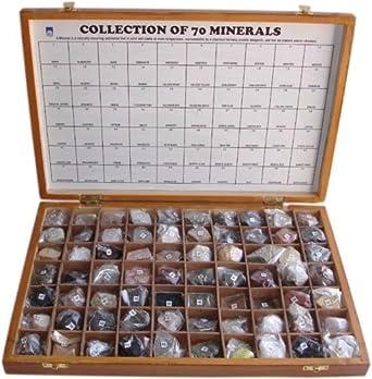 Alta calidad 70 minerales colección en caja de madera con tapa Set de 70 minerales: Amazon.es: Amazon.es