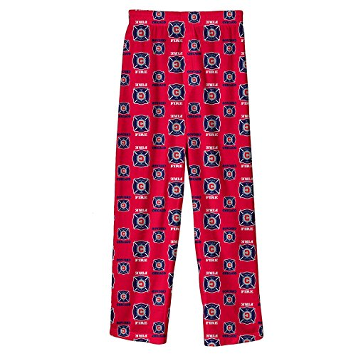 fan products of MLS Chicago Fire BoysAll Over Team Logo Sleepwear Printed Pants, Red, Large (14-16)