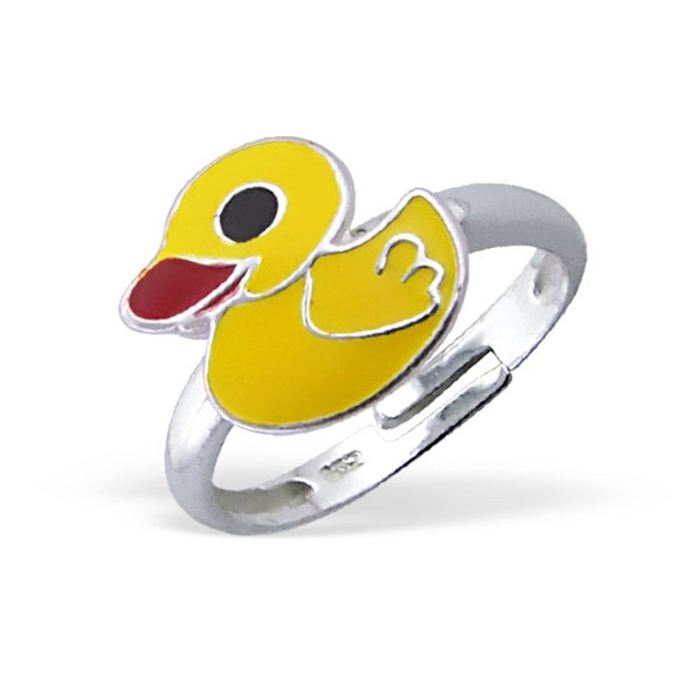 Yellow Duck Ring Girl Jewelry Size Adjustable 2-4 Sterling Silver 925 (E4736)