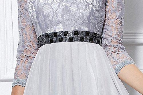 Manches En Mousseline De Soie Cotylédons Longues Robes Col Rond 3/4 Robes De Robe De Bal Verte