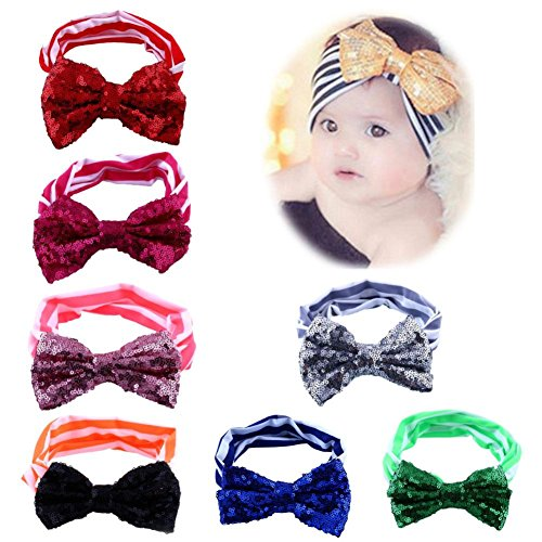 Itaar Baby Hairband Girl's Elastic Mix Color Hair Wrap Cute (Sequin Bow Headband)